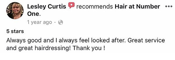Hairdresser Islip Hair @ Number One Testimonial